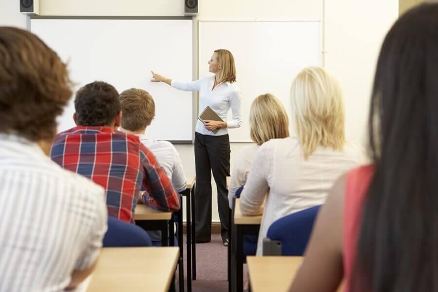 Lehrerin erklärt Thema an Tafel
