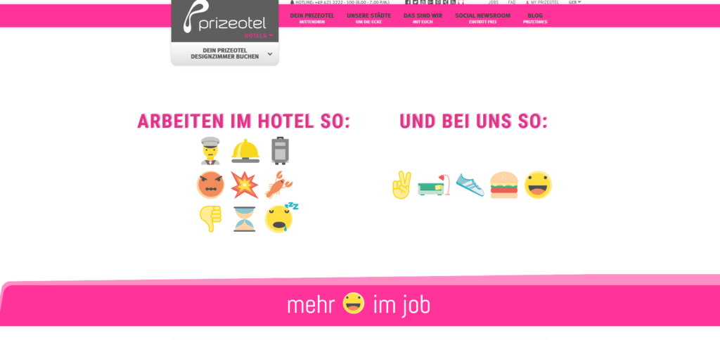 Karriere Website von prizeotel