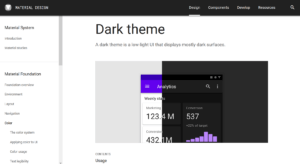 Dark Theme Empfehlungen in Googles Material Design